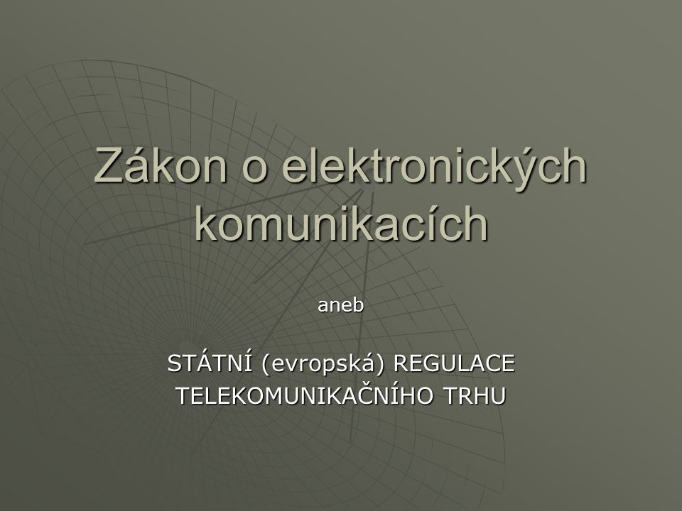 """Historický vývoj :  Způsoby sdělování zpráv na dálku byly vždy v centru zájmů panovníků  V Evropě se rozvíjel telegraf na objednávku státu a pod státním dohledem – byrokratický přístup  V USA šlo od počátku o podnikání – tržní přístup  Presidiální dekret dvorské komory Rakouska č.2581/1847 – první legislativní krok  """"Telegrafní zákon z č.60/1923 období první republiky ustavuje výhradní právo státu na zřizování a provozování telegrafů  Telekomunikační zákon č.72/1950 – důraz na zabránění zneužívání telekomunikací  Jednotná telekomunikační síť v zákoně č."""