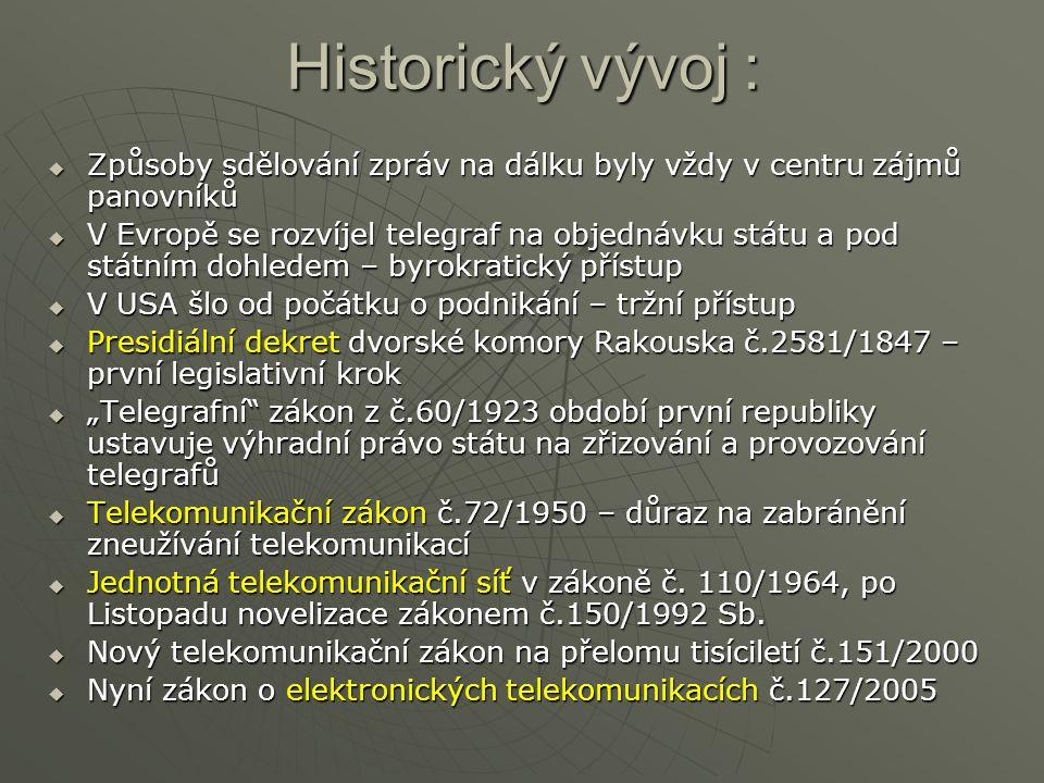 Historický vývoj :  Způsoby sdělování zpráv na dálku byly vždy v centru zájmů panovníků  V Evropě se rozvíjel telegraf na objednávku státu a pod stá