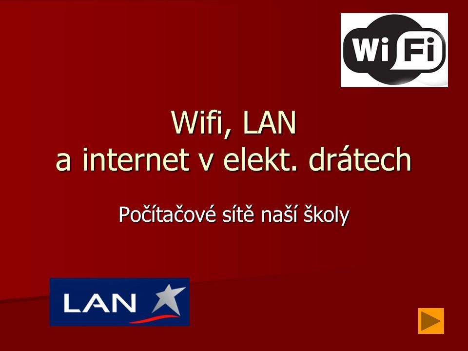 Wifi, LAN a internet v elekt. drátech Počítačové sítě naší školy
