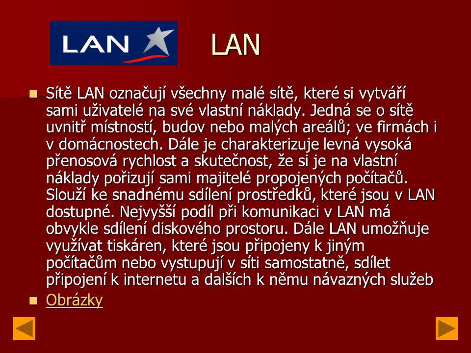 LAN Sítě LAN označují všechny malé sítě, které si vytváří sami uživatelé na své vlastní náklady.