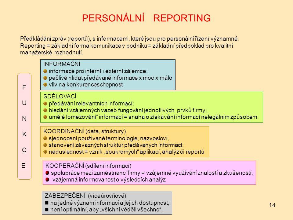 14 PERSONÁLNÍ REPORTING Předkládání zpráv (reportů), s informacemi, které jsou pro personální řízení významné.