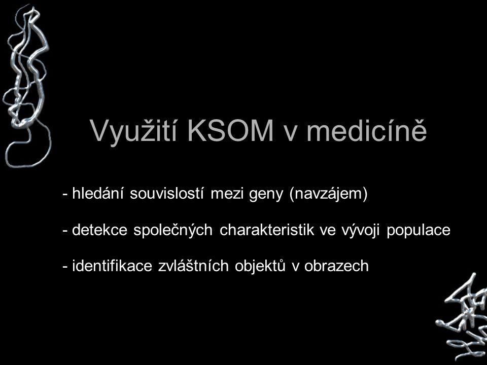 Využití KSOM v medicíně - hledání souvislostí mezi geny (navzájem) - detekce společných charakteristik ve vývoji populace - identifikace zvláštních objektů v obrazech