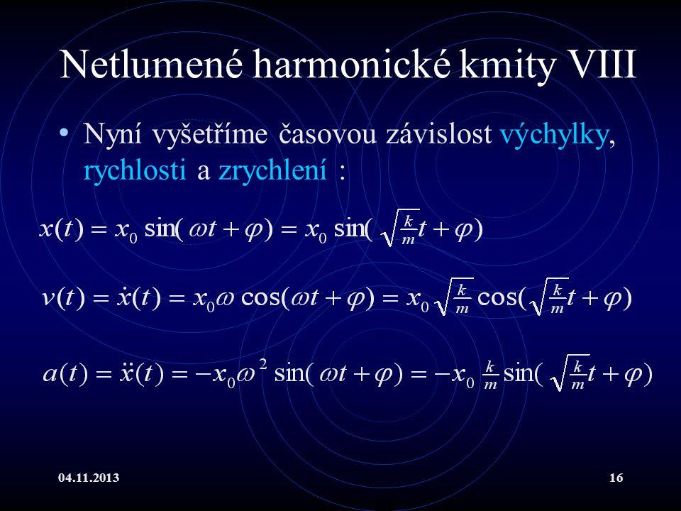 04.11.201316 Netlumené harmonické kmity VIII Nyní vyšetříme časovou závislost výchylky, rychlosti a zrychlení :