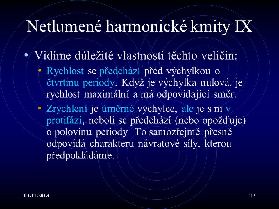 04.11.201317 Netlumené harmonické kmity IX Vidíme důležité vlastnosti těchto veličin: Rychlost se předchází před výchylkou o čtvrtinu periody. Když je