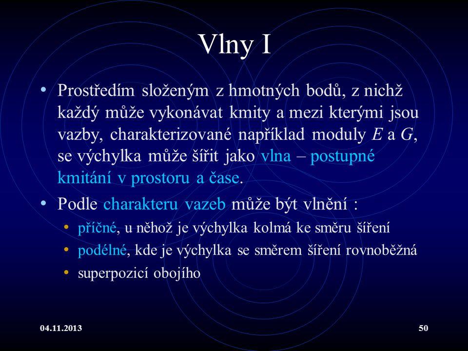 04.11.201350 Vlny I Prostředím složeným z hmotných bodů, z nichž každý může vykonávat kmity a mezi kterými jsou vazby, charakterizované například modu