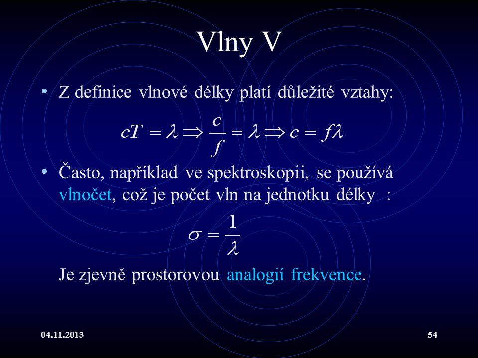 04.11.201354 Vlny V Z definice vlnové délky platí důležité vztahy: Často, například ve spektroskopii, se používá vlnočet, což je počet vln na jednotku