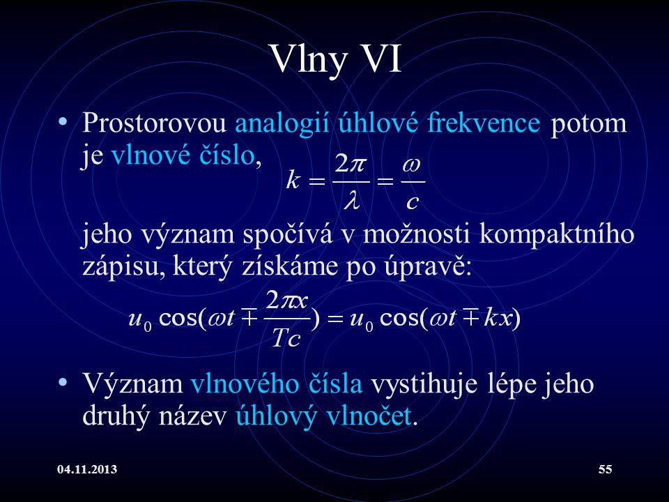 04.11.201355 Vlny VI Prostorovou analogií úhlové frekvence potom je vlnové číslo, jeho význam spočívá v možnosti kompaktního zápisu, který získáme po