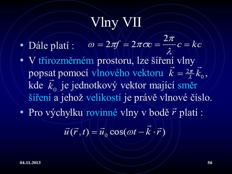 04.11.201356 Vlny VII Dále platí : V třírozměrném prostoru, lze šíření vlny popsat pomocí vlnového vektoru, kde je jednotkový vektor mající směr šířen