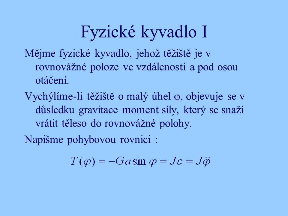 Fyzické kyvadlo I Mějme fyzické kyvadlo, jehož těžiště je v rovnovážné poloze ve vzdálenosti a pod osou otáčení. Vychýlíme-li těžiště o malý úhel φ, o