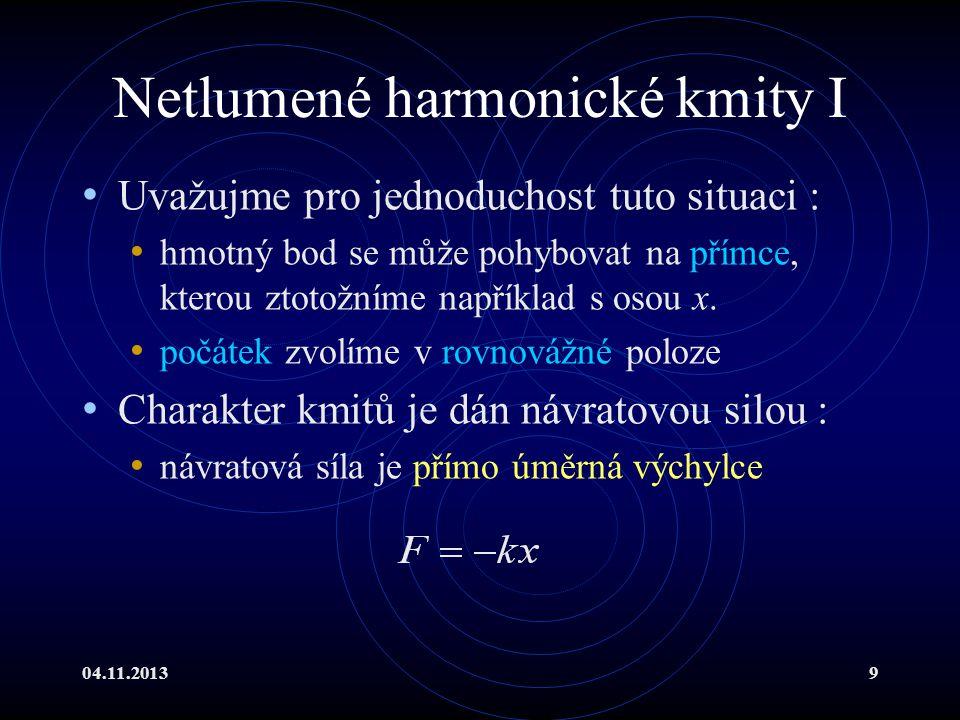 04.11.20139 Netlumené harmonické kmity I Uvažujme pro jednoduchost tuto situaci : hmotný bod se může pohybovat na přímce, kterou ztotožníme například