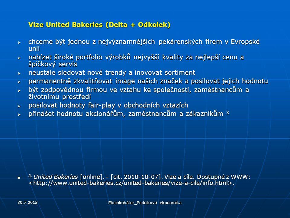 Vize United Bakeries (Delta + Odkolek)  chceme být jednou z nejvýznamnějších pekárenských firem v Evropské unii  nabízet široké portfolio výrobků nejvyšší kvality za nejlepší cenu a špičkový servis  neustále sledovat nové trendy a inovovat sortiment  permanentně zkvalitňovat image našich značek a posilovat jejich hodnotu  být zodpovědnou firmou ve vztahu ke společnosti, zaměstnancům a životnímu prostředí  posilovat hodnoty fair-play v obchodních vztazích  přinášet hodnotu akcionářům, zaměstnancům a zákazníkům 3 3.