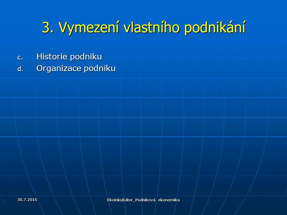 3. Vymezení vlastního podnikání c. Historie podniku d. Organizace podniku 30.7.2015 Ekoinkubátor_Podniková ekonomika