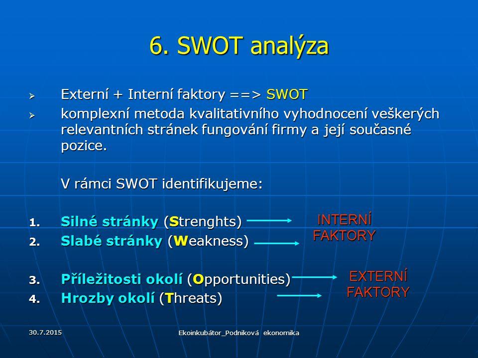 6. SWOT analýza  Externí + Interní faktory ==> SWOT  komplexní metoda kvalitativního vyhodnocení veškerých relevantních stránek fungování firmy a je