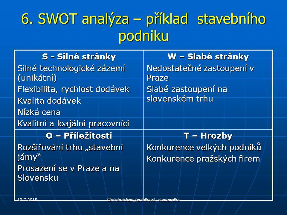 6. SWOT analýza – příklad stavebního podniku S - Silné stránky Silné technologické zázemí (unikátní) Flexibilita, rychlost dodávek Kvalita dodávek Níz