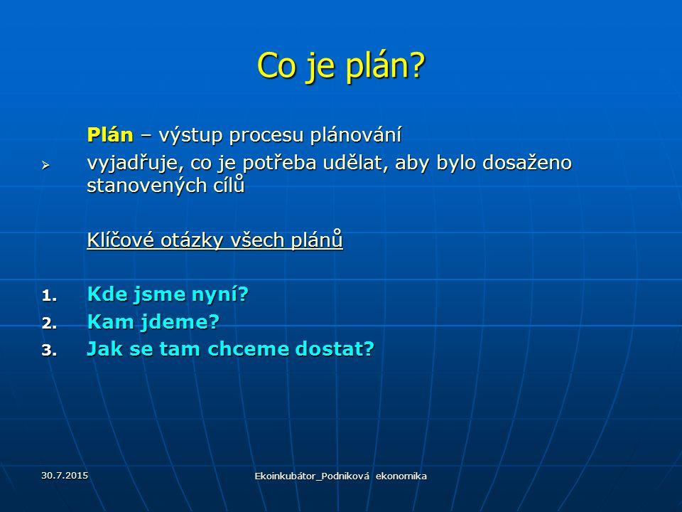 Co je plán? Plán – výstup procesu plánování  vyjadřuje, co je potřeba udělat, aby bylo dosaženo stanovených cílů Klíčové otázky všech plánů 1. Kde js