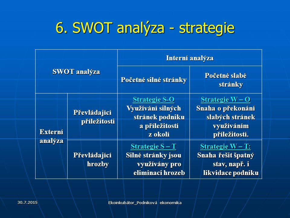 6. SWOT analýza - strategie SWOT analýza Interní analýza Početné silné stránky Početné slabé stránky Externíanalýza Převládající příležitosti Strategi