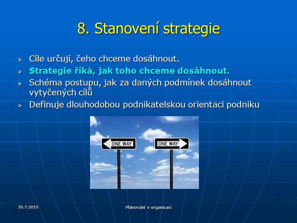 30.7.2015 Plánování v organizaci 8. Stanovení strategie  Cíle určují, čeho chceme dosáhnout.  Strategie říká, jak toho chceme dosáhnout.  Schéma po