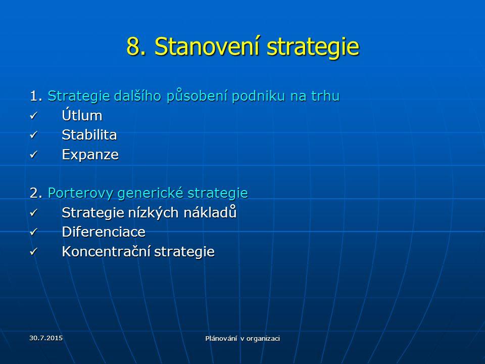30.7.2015 Plánování v organizaci 8. Stanovení strategie 1. Strategie dalšího působení podniku na trhu Útlum Útlum Stabilita Stabilita Expanze Expanze