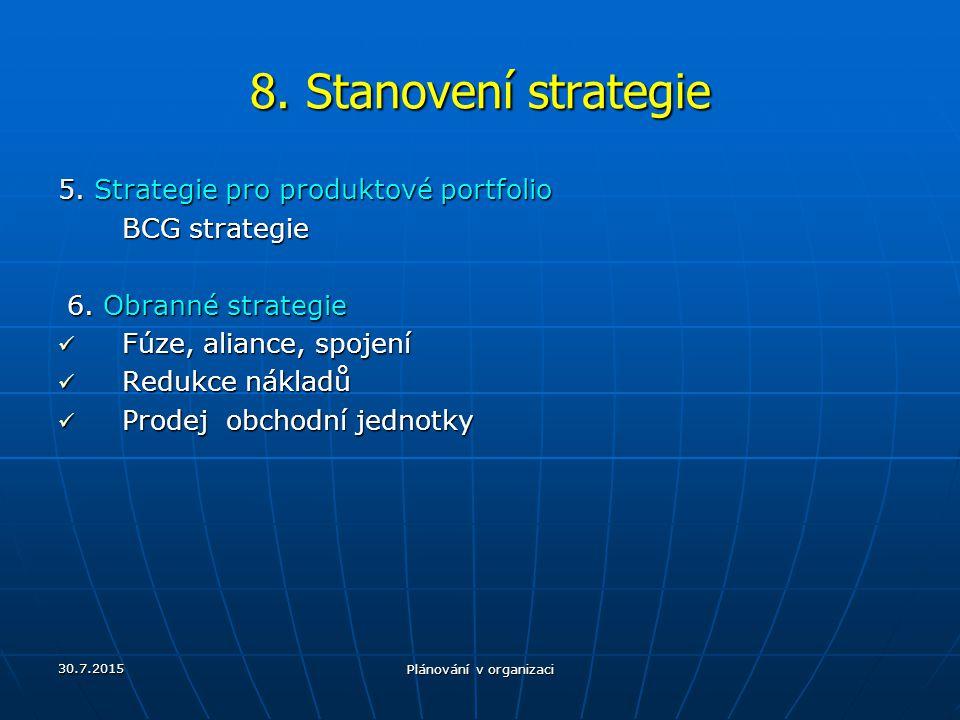 30.7.2015 Plánování v organizaci 8. Stanovení strategie 5. Strategie pro produktové portfolio BCG strategie 6. Obranné strategie 6. Obranné strategie