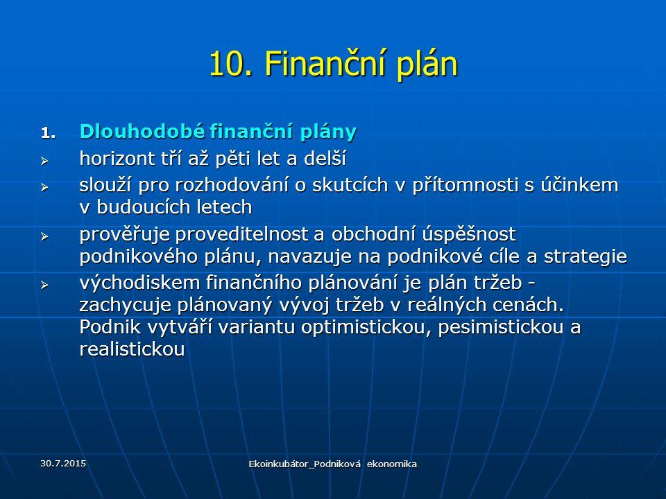 10. Finanční plán 1. Dlouhodobé finanční plány  horizont tří až pěti let a delší  slouží pro rozhodování o skutcích v přítomnosti s účinkem v budouc