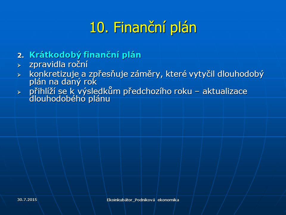10. Finanční plán 2. Krátkodobý finanční plán  zpravidla roční  konkretizuje a zpřesňuje záměry, které vytyčil dlouhodobý plán na daný rok  přihlíž