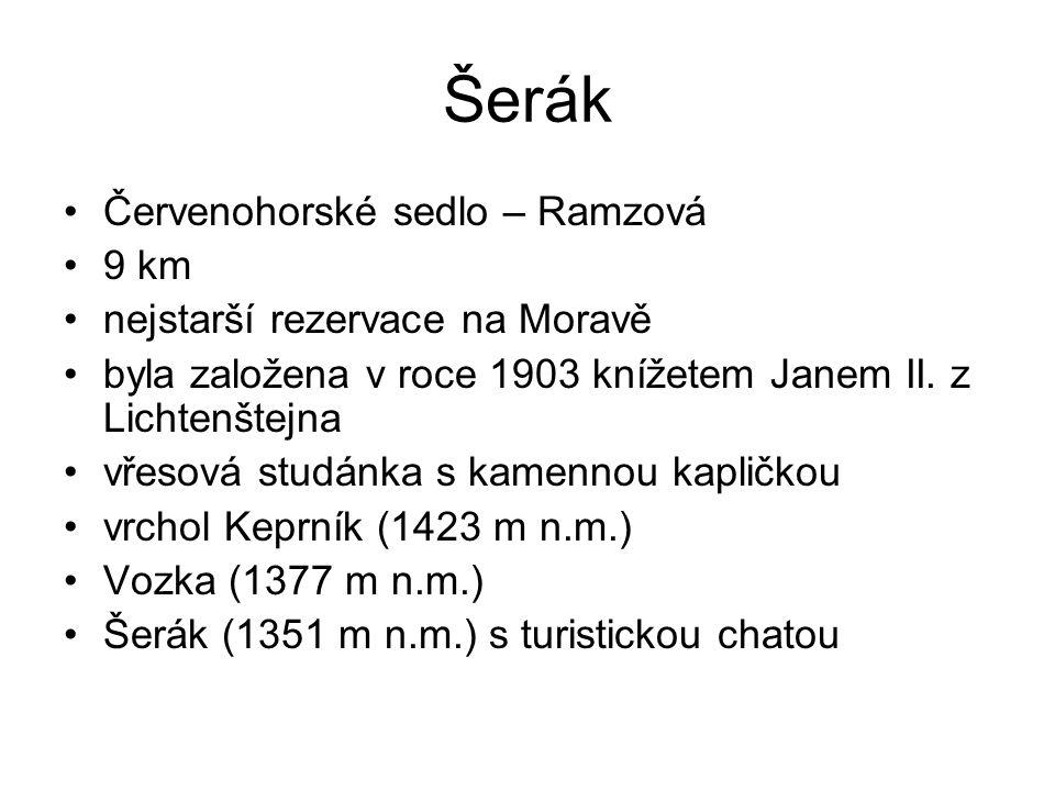 Šerák Červenohorské sedlo – Ramzová 9 km nejstarší rezervace na Moravě byla založena v roce 1903 knížetem Janem II.