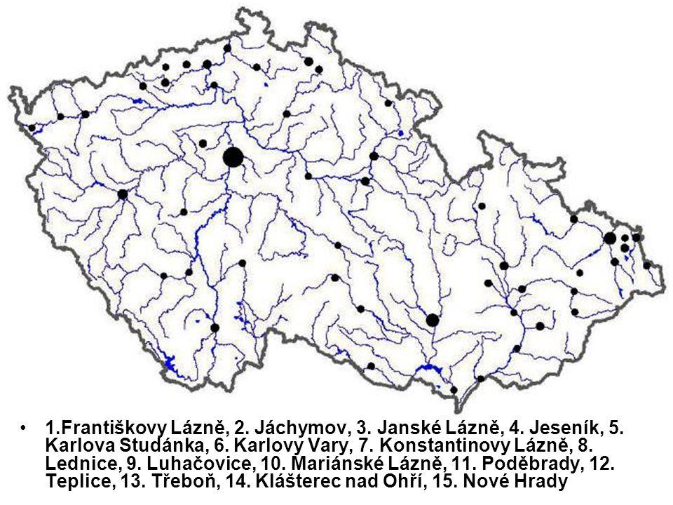 1.Františkovy Lázně, 2. Jáchymov, 3. Janské Lázně, 4.