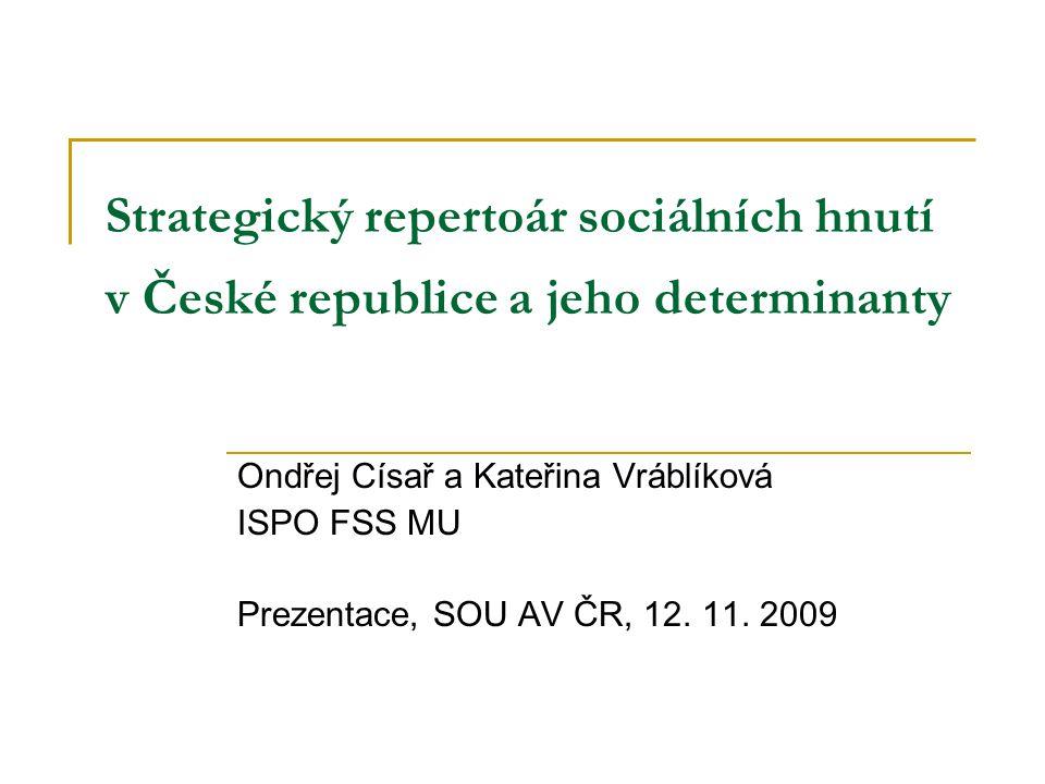 Hlavní otázky Jaký strategický repertoár používají organizace českých sociálních hnutí.