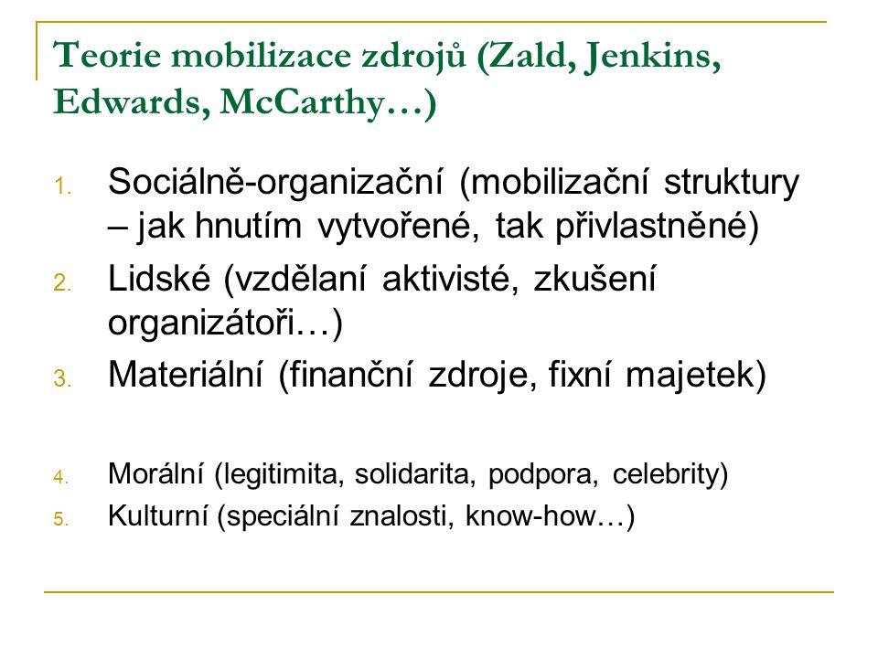 Teorie mobilizace zdrojů (Zald, Jenkins, Edwards, McCarthy…) 1.