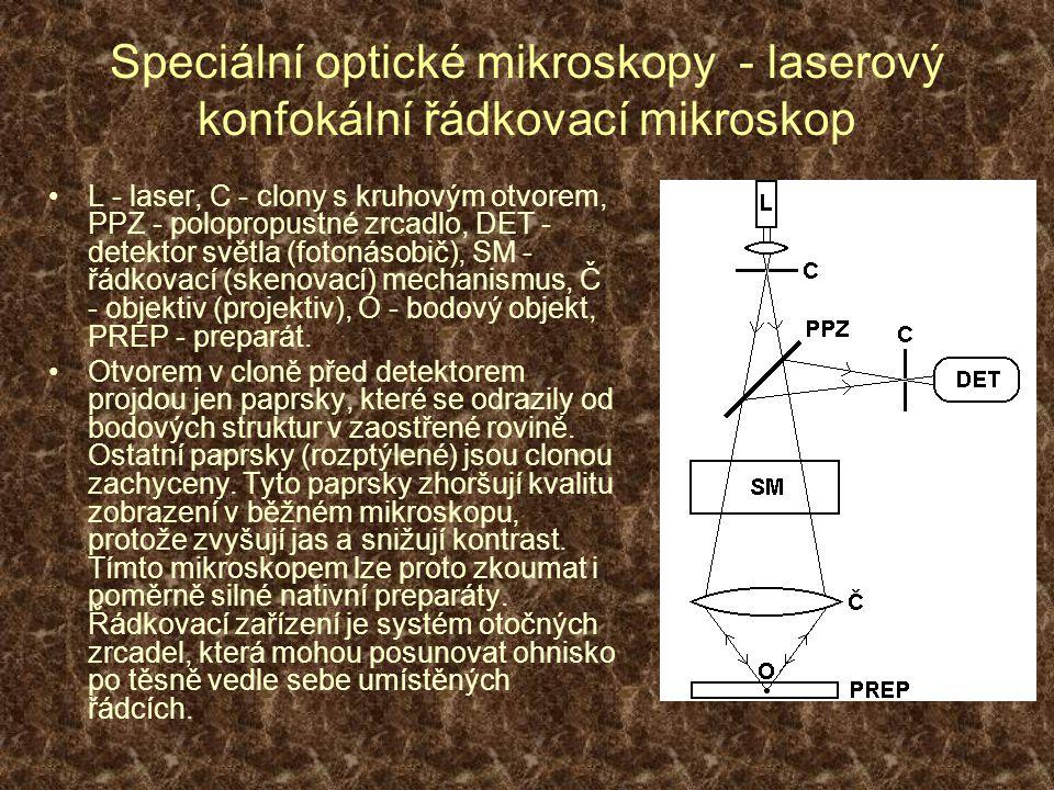 Speciální optické mikroskopy - laserový konfokální řádkovací mikroskop L - laser, C - clony s kruhovým otvorem, PPZ - polopropustné zrcadlo, DET - detektor světla (fotonásobič), SM - řádkovací (skenovací) mechanismus, Č - objektiv (projektiv), O - bodový objekt, PREP - preparát.