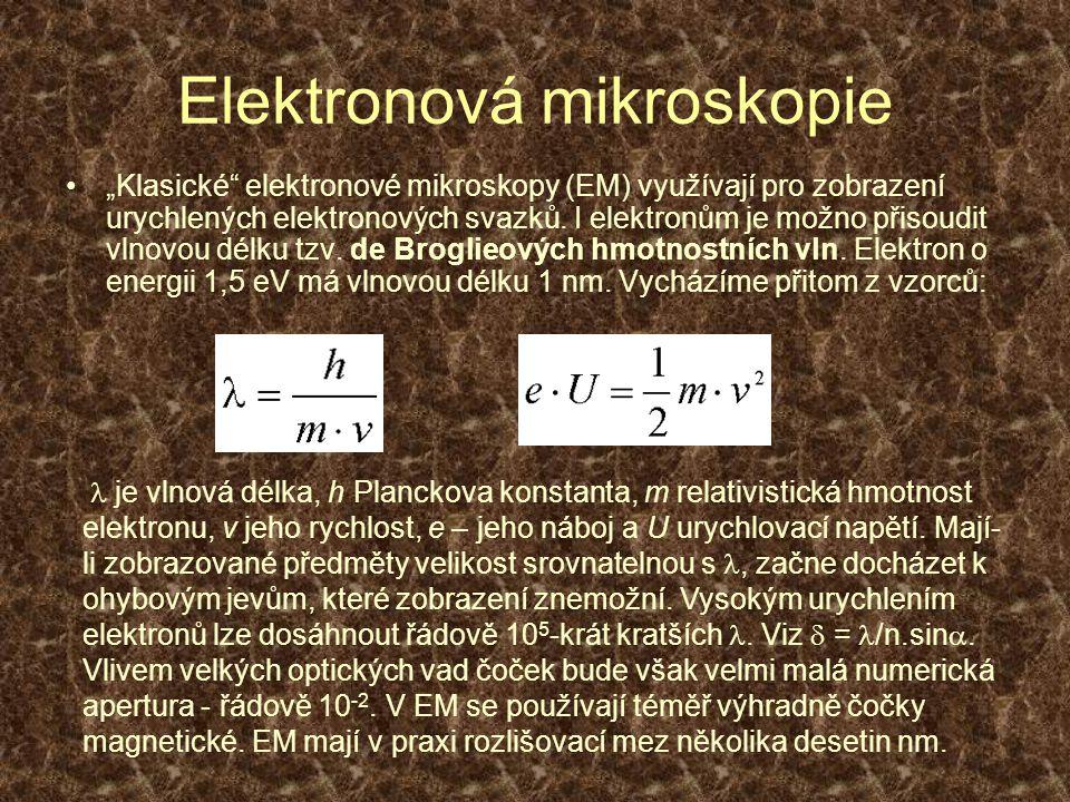 """Elektronová mikroskopie """"Klasické"""" elektronové mikroskopy (EM) využívají pro zobrazení urychlených elektronových svazků. I elektronům je možno přisoud"""