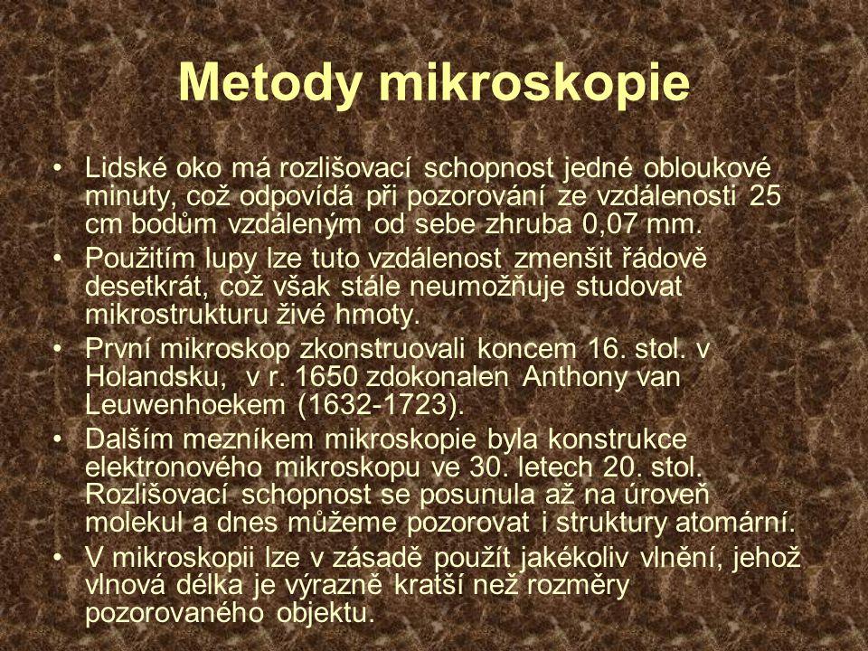 Metody mikroskopie Lidské oko má rozlišovací schopnost jedné obloukové minuty, což odpovídá při pozorování ze vzdálenosti 25 cm bodům vzdáleným od sebe zhruba 0,07 mm.