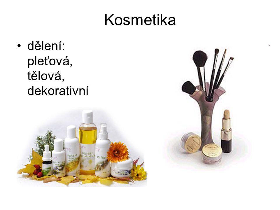 Kosmetika dělení: pleťová, tělová, dekorativní