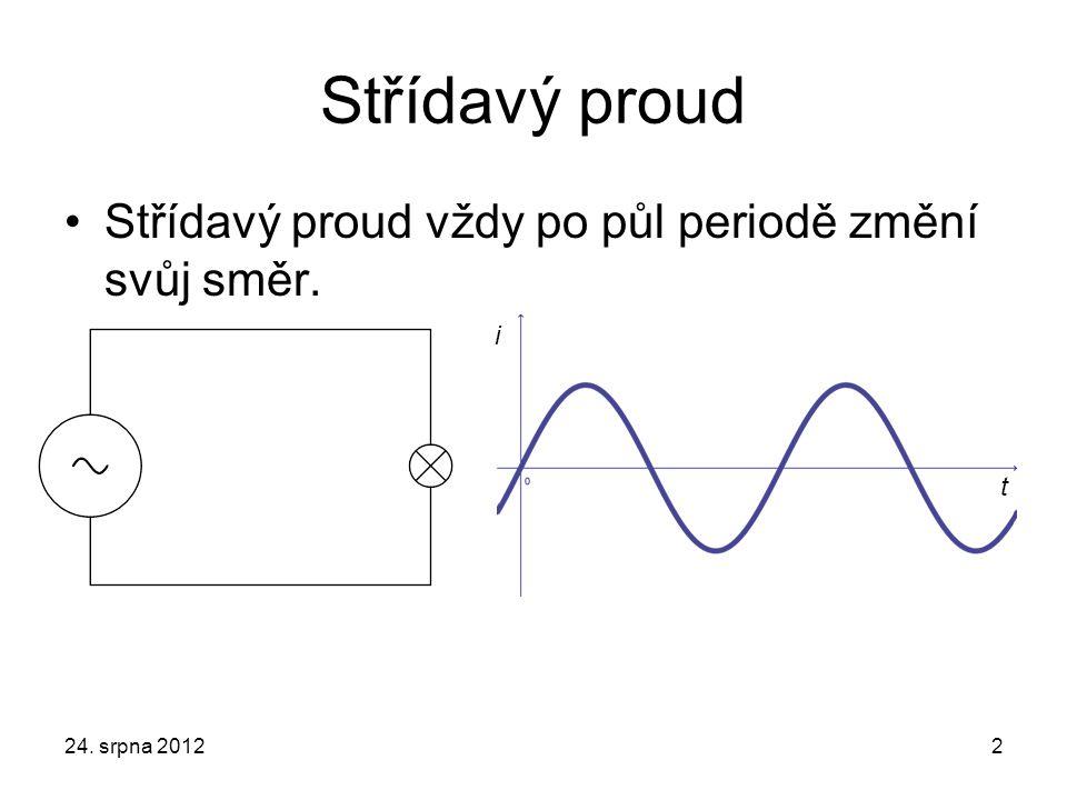 Střídavý proud Střídavý proud vždy po půl periodě změní svůj směr. 24. srpna 20122 i t