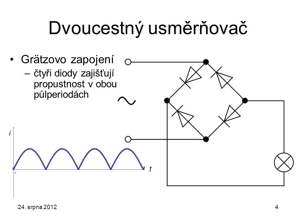 Dvoucestný usměrňovač Grätzovo zapojení –čtyři diody zajišťují propustnost v obou půlperiodách 24.