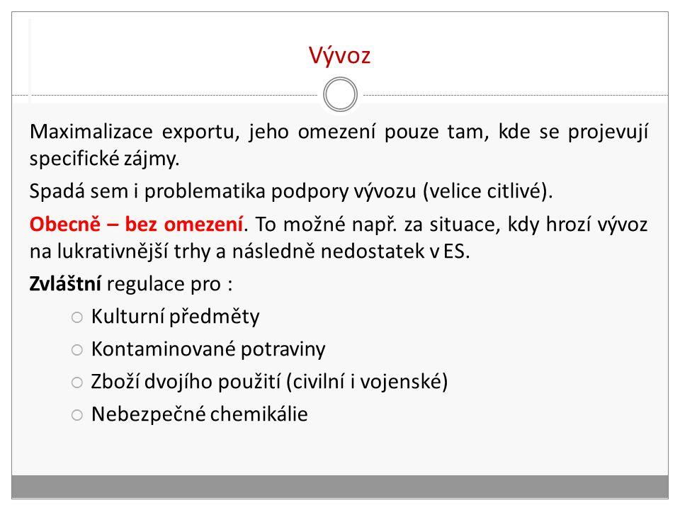 Vývoz Maximalizace exportu, jeho omezení pouze tam, kde se projevují specifické zájmy.