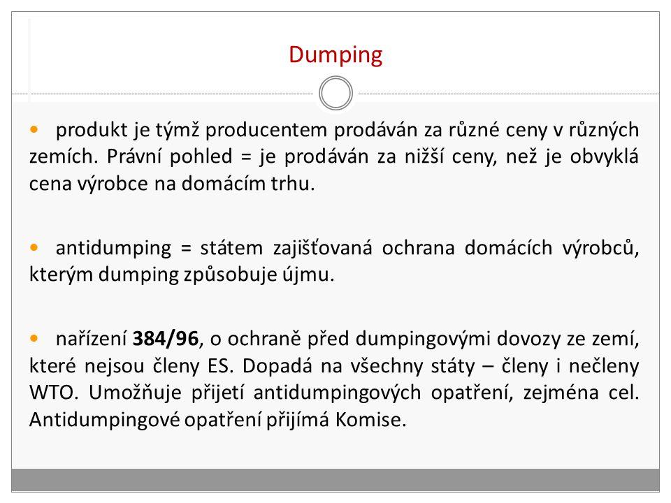 Dumping produkt je týmž producentem prodáván za různé ceny v různých zemích.