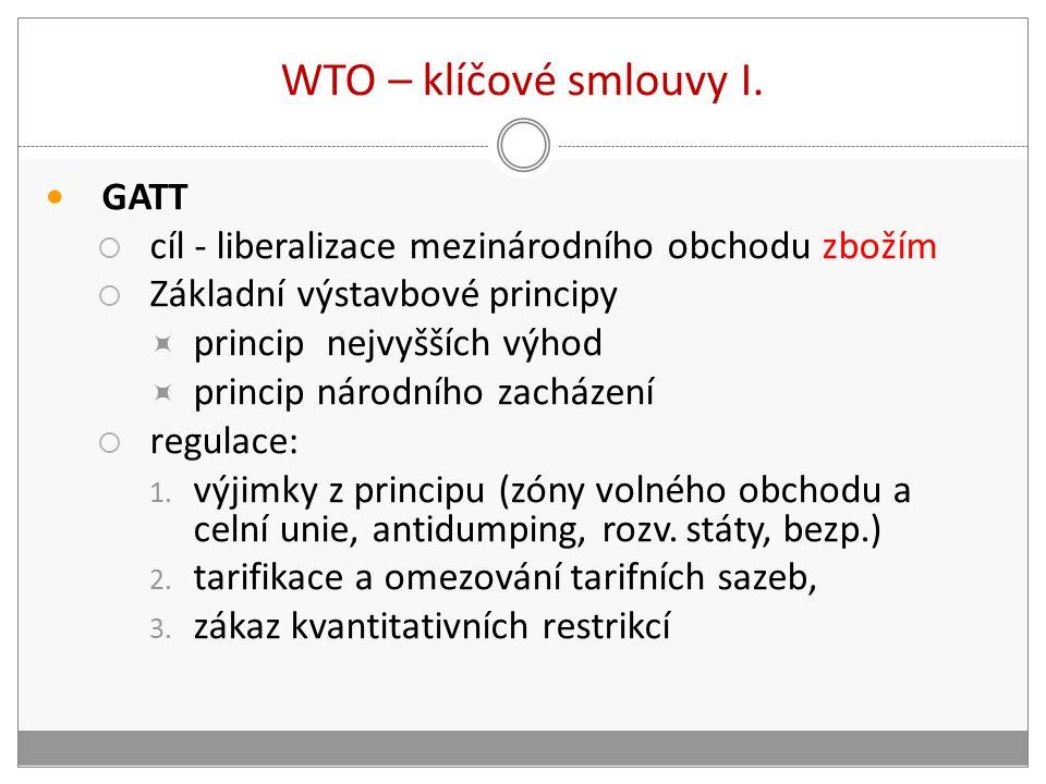 WTO – klíčové smlouvy I.