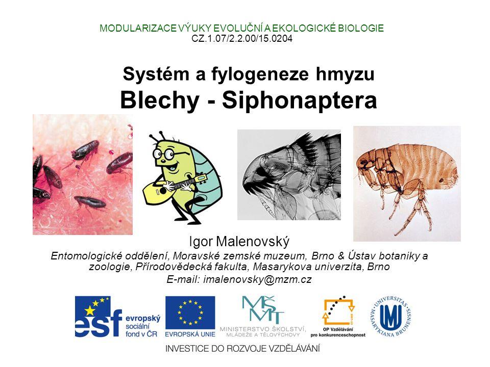 Systém a fylogeneze hmyzu Blechy - Siphonaptera Igor Malenovský Entomologické oddělení, Moravské zemské muzeum, Brno & Ústav botaniky a zoologie, Přírodovědecká fakulta, Masarykova univerzita, Brno E-mail: imalenovsky@mzm.cz MODULARIZACE VÝUKY EVOLUČNÍ A EKOLOGICKÉ BIOLOGIE CZ.1.07/2.2.00/15.0204