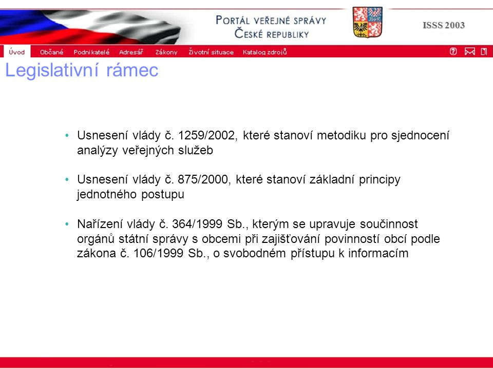 Portál veřejné správy © 2002 IBM Corporation ISSS 2003 Legislativní rámec Usnesení vlády č. 1259/2002, které stanoví metodiku pro sjednocení analýzy v