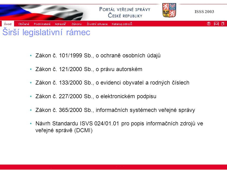 Portál veřejné správy © 2002 IBM Corporation ISSS 2003 Širší legislativní rámec Zákon č. 101/1999 Sb., o ochraně osobních údajů Zákon č. 121/2000 Sb.,