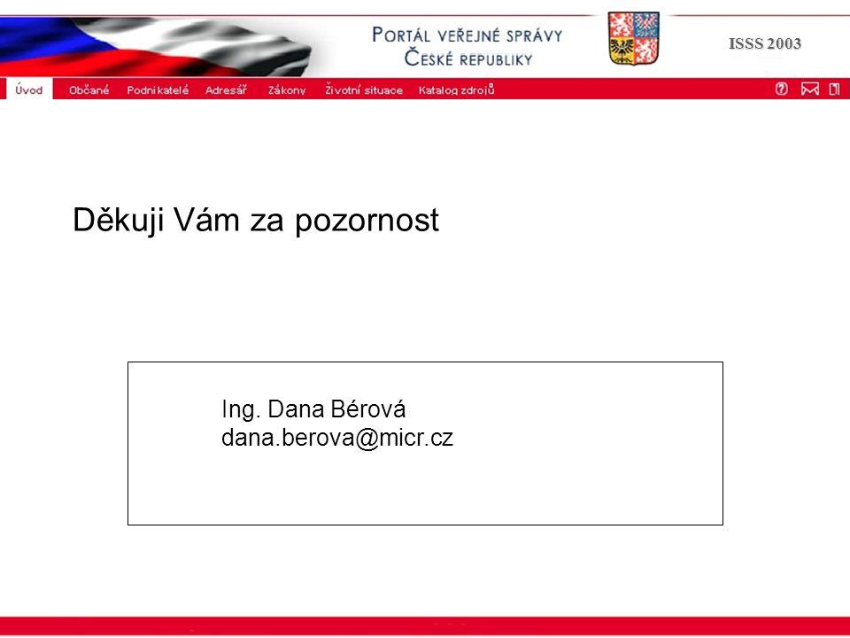 ISSS 2003 Děkuji Vám za pozornost Ing. Dana Bérová dana.berova@micr.cz