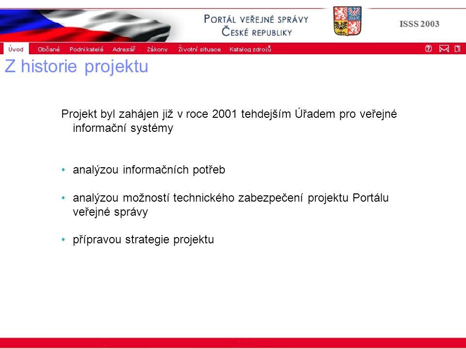 Portál veřejné správy © 2002 IBM Corporation ISSS 2003 Z historie projektu Projekt byl zahájen již v roce 2001 tehdejším Úřadem pro veřejné informační systémy analýzou informačních potřeb analýzou možností technického zabezpečení projektu Portálu veřejné správy přípravou strategie projektu