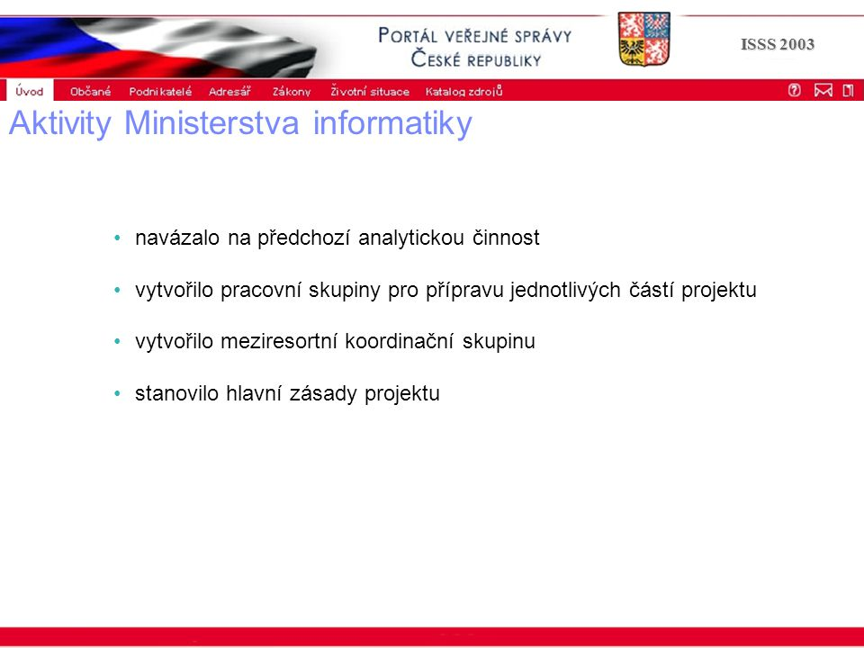 Portál veřejné správy © 2002 IBM Corporation ISSS 2003 Aktivity Ministerstva informatiky navázalo na předchozí analytickou činnost vytvořilo pracovní