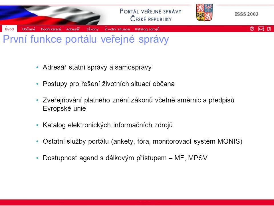 Portál veřejné správy © 2002 IBM Corporation ISSS 2003 První funkce portálu veřejné správy Adresář statní správy a samosprávy Postupy pro řešení život
