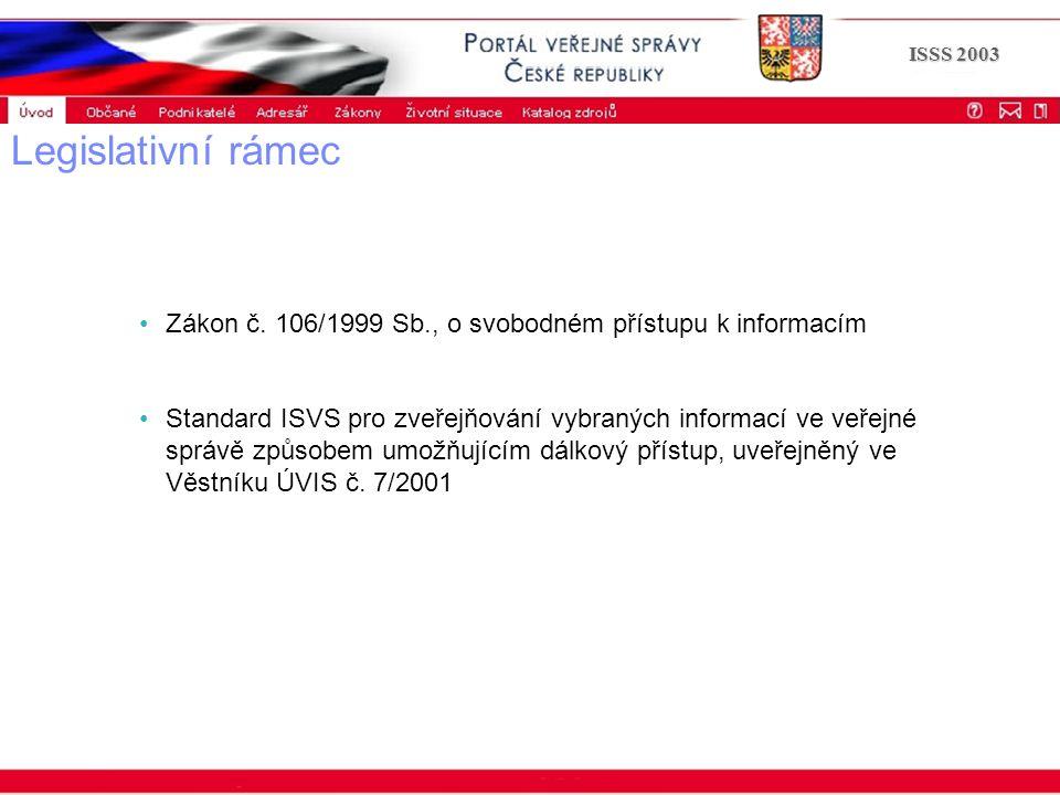 Portál veřejné správy © 2002 IBM Corporation ISSS 2003 Legislativní rámec Zákon č. 106/1999 Sb., o svobodném přístupu k informacím Standard ISVS pro z