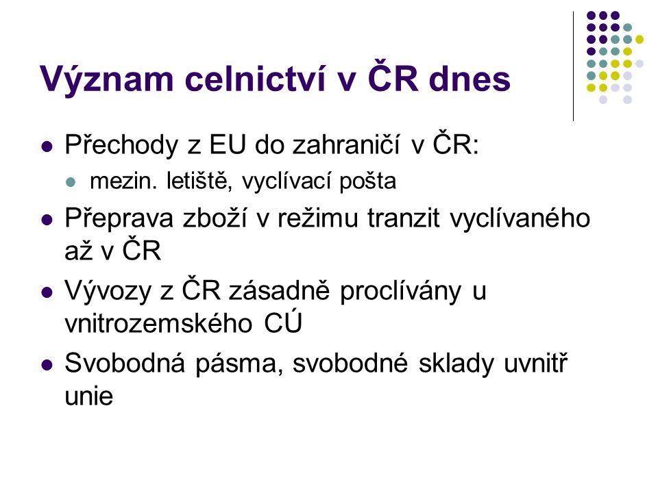 Význam celnictví v ČR dnes Přechody z EU do zahraničí v ČR: mezin.