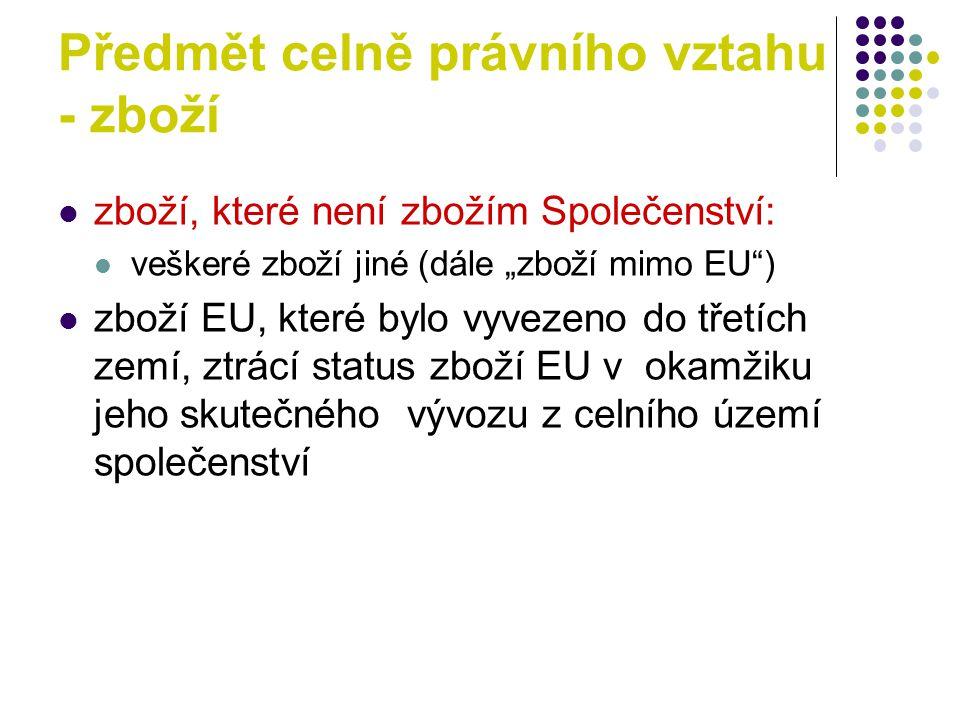 """Předmět celně právního vztahu - zboží zboží, které není zbožím Společenství: veškeré zboží jiné (dále """"zboží mimo EU ) zboží EU, které bylo vyvezeno do třetích zemí, ztrácí status zboží EU v okamžiku jeho skutečného vývozu z celního území společenství"""