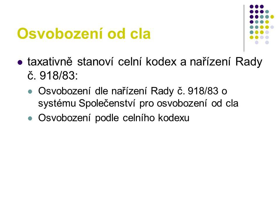 Osvobození od cla taxativně stanoví celní kodex a nařízení Rady č.