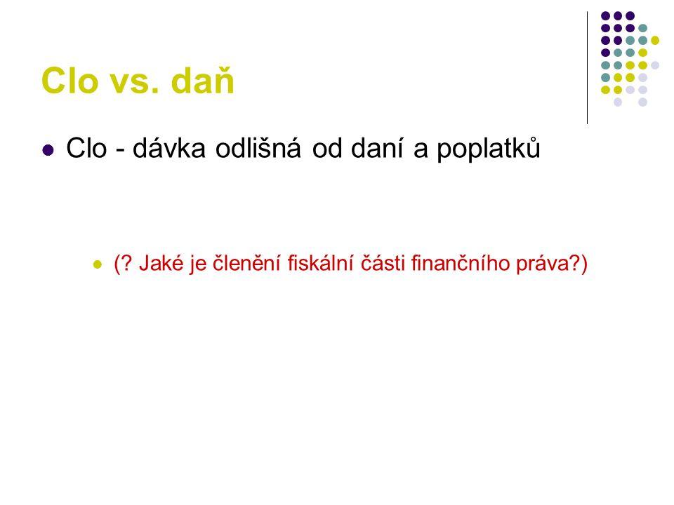 Clo vs.daň Clo - dávka odlišná od daní a poplatků (.